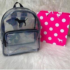Vs pink clear glitter mini backpack